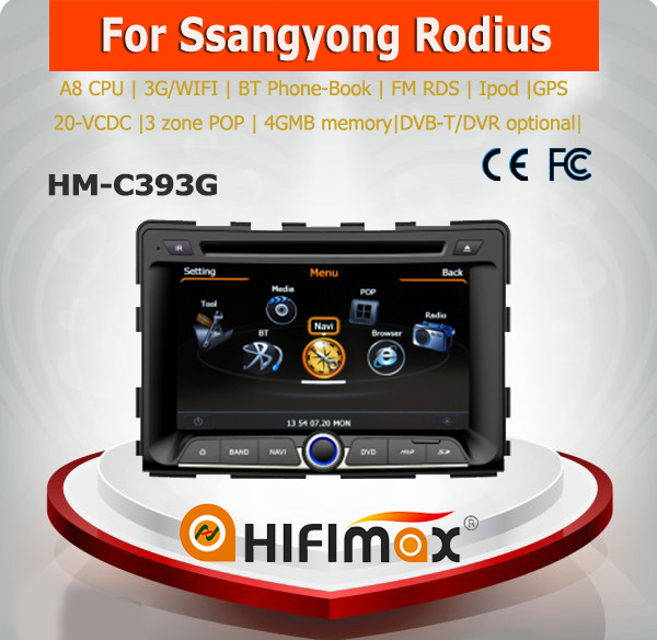 Hifimax car radio dvd gps navigation FOR Ssangyong Rodius WITH A8 CHIPSET DUAL CORE 1080P V-20 DISC WIFI 3G INTERNET DVR