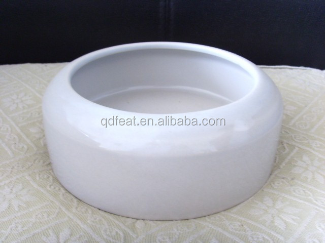 white stoneware pet dog bowl product
