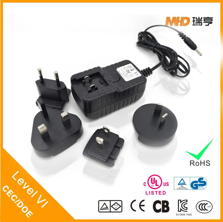 12V Interchangeable AC DC Power Wall Adapter with CEC/DOE Level VI