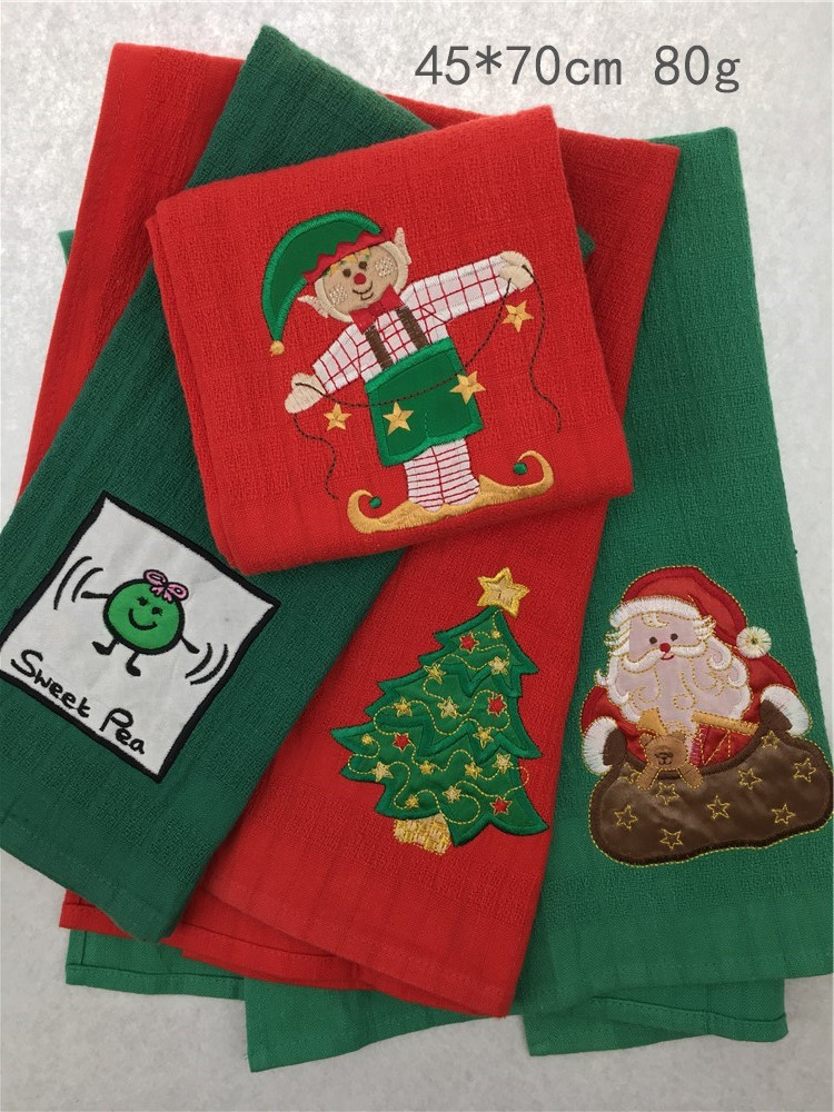 100% cotton factory price merry christmas X-mas embroidery tea towel
