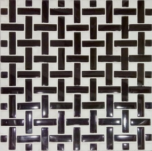 Basket weave oriental white marble mix black glass mosaic tile for living room
