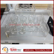 china factory 12 shares liquid coffee juice drink Clear acrylic cup display holder for retail