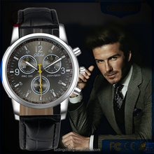 Fashion Winner Black Leather Band Stainless Steel Watch For Men Wrist Watch