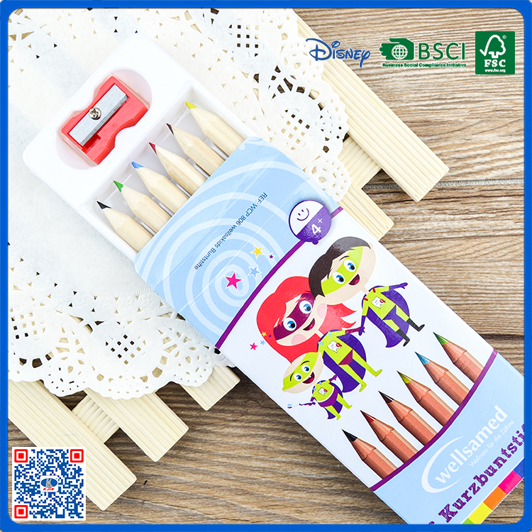 2016 hot sale 6 pcs colored drawing pencil for boy