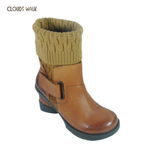 China Guangzhou Wholesale Latest Women Genuine Leather Ankle Knit Boots Ladies