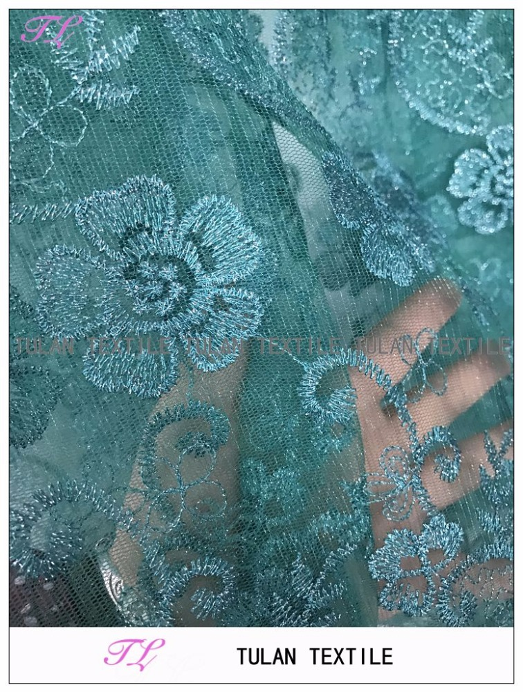 Hot sell embroidery French lace fabric tulle lace fabric green
