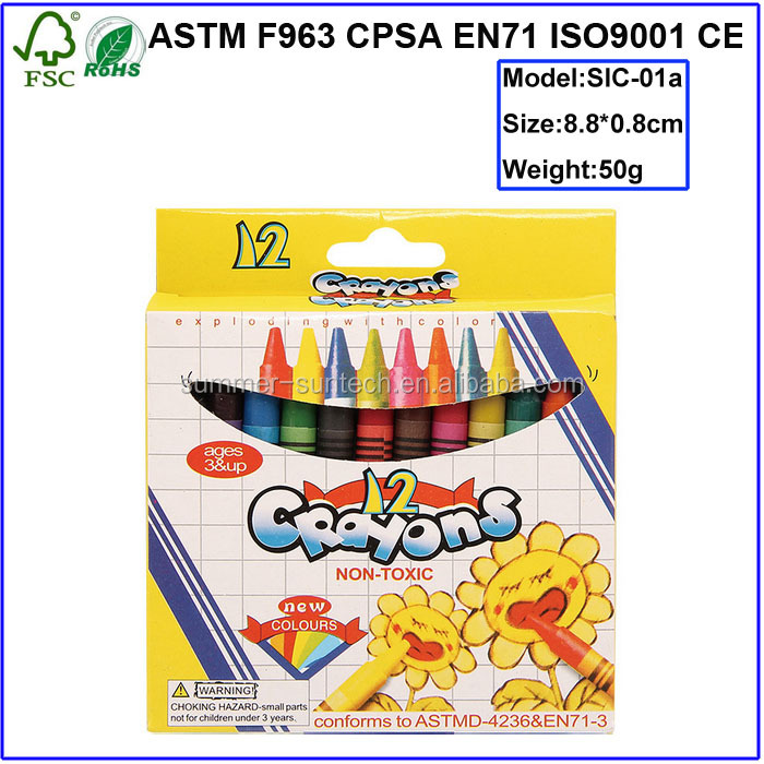 Customized non toxic12wax crayons in color box personalized crayola crayons