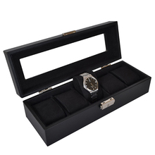printed logo luxury wooden watch box, watches display box for men