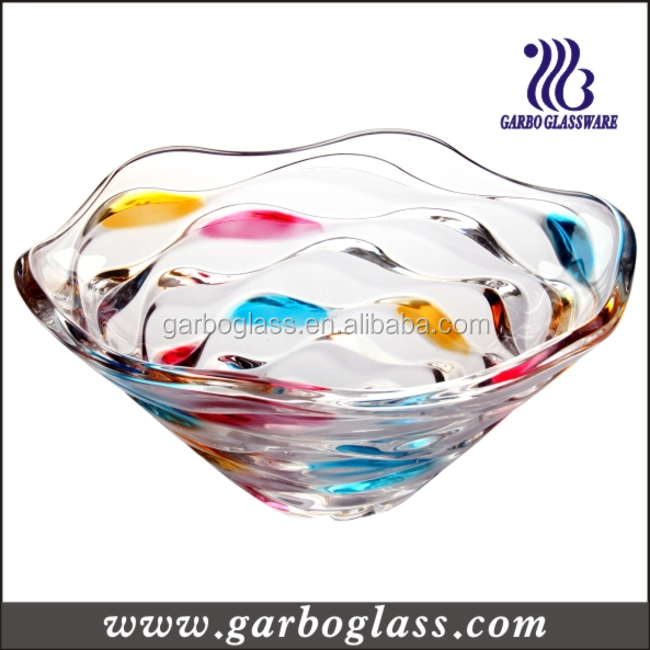 Colorful glass bowl,glass fruit bow in wave design