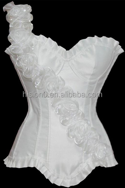 Plus Size Satin Corset Special Single Shoulder Flower Strap for Women Sexy Lingeries Pregnant Body Slimming Shaper