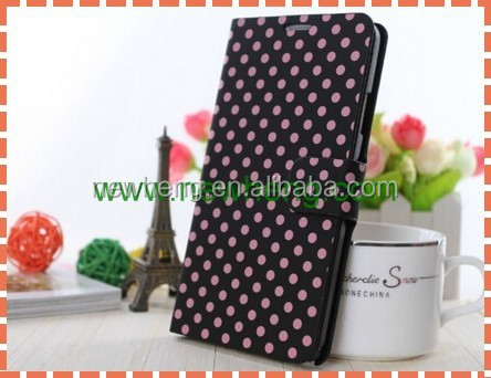 Hot selling Polka Dot PU Leather wallet phone Case for iPhone 6