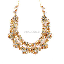 Luxury design double wrap rhinestone pearl alloy cluster collar necklace cute fashion pearl necklace for girls wholesale