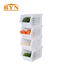 BYN Japanese New kitchen plastic stackable vegetable storage baskets