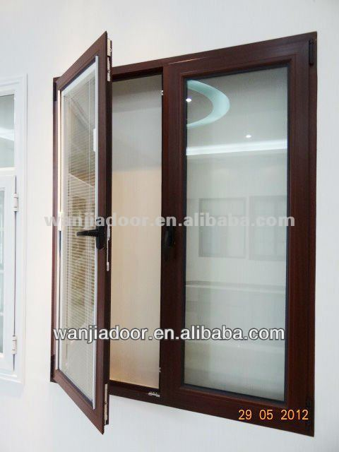 aluminum window with internal blinds/casement inward opening casement window