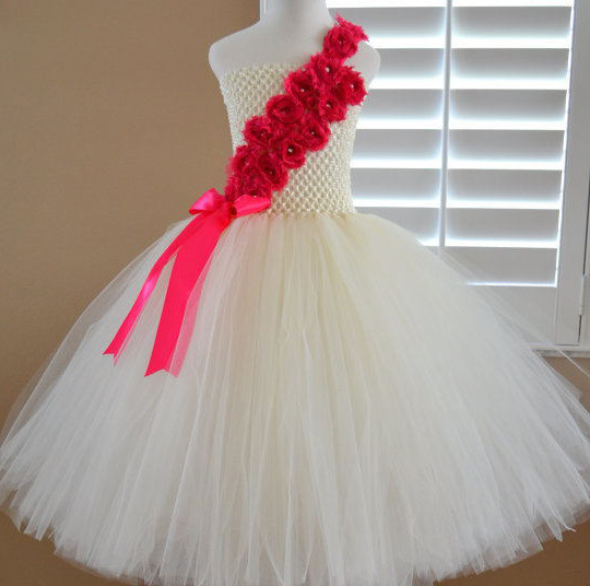Red Color Flower Girl Tutu Dress Wedding Dresses