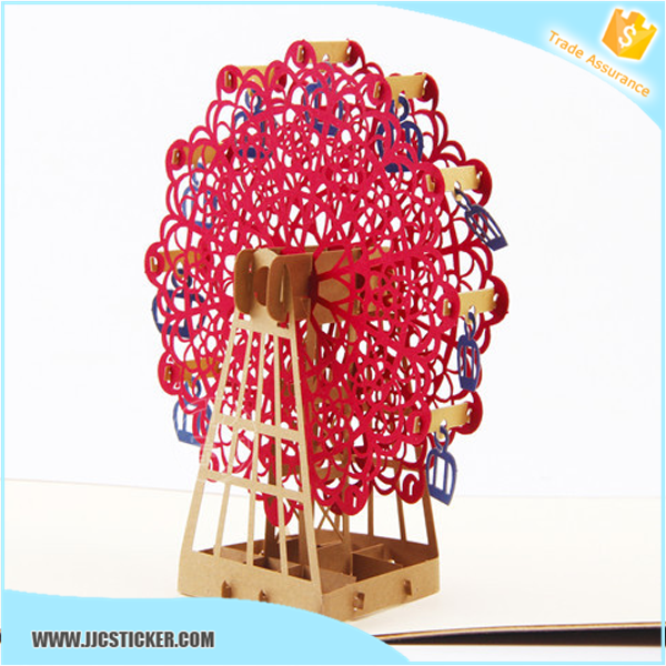 Big giant wheel pop up cards vietnam, handmade pop up card,greeting card vietnam