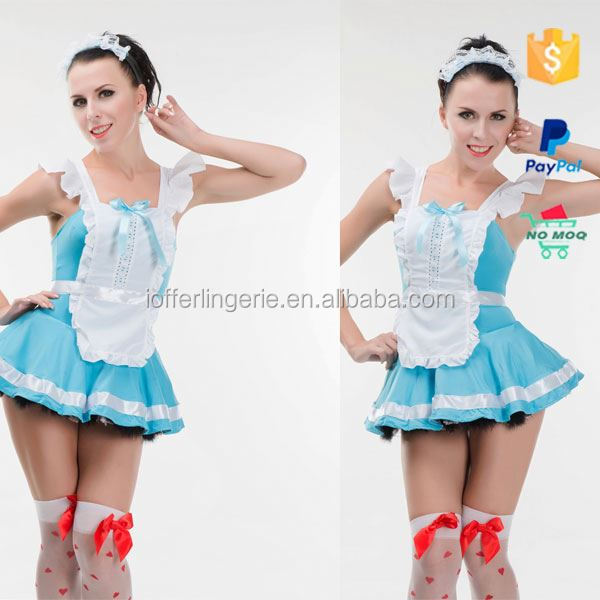 wholesale blue cheap halloween latex french maid costume