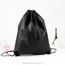 Cheap black small non woven drawstring shoe bag