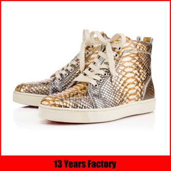 New style leather craft shoes bling bling material upper snakeskin leather shoes in shenzhen