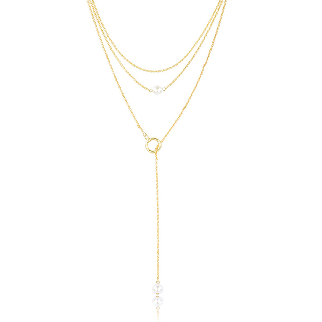 Gold Color Layered Chain Necklace Pearl Beads Long Strip Cross Y Shaped Jewelry for Women