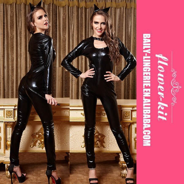 Hot Sexy Black leather unitard Catwoman costume with long sleeves, tail, and ear headband
