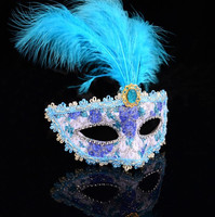2015 Latest New Design Lady Halloween Feather Mask
