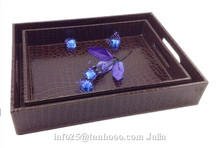 Hotel/home faux leather serving tray, beverage tray,storage tray