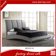 Modern Furniture Curved Upholstered Headboard Gray Red Black Faux Leather Waved Bed Frame Y