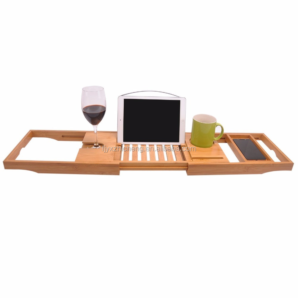 Premium Bamboo Bathtub Tray With Extending Sides Reading Rack,Tablet /Cellphone/Wine Glass Holder