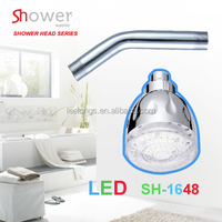 SH-1648 ABS chrome plated 7 color top LED shower head rose