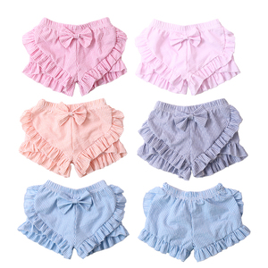wholesale summer boutique girls seersucker ruffles trunks with bows