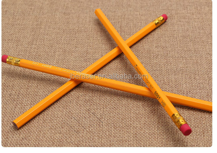 Yellow Graphite HB Pencil with Eraser in Bulk