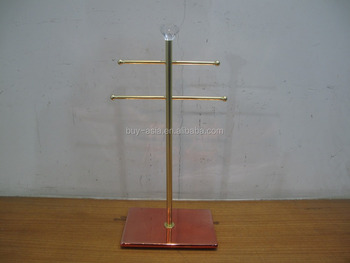 2 Tier Metal Bangle Bar with Ceramic Rectangle Base Jewelry Holder