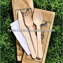 Home Supply 140mm Size Party Banquet Disposable Wooden Cutlery Sets