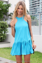 2016 Summer Fashion Short Halter Sexy New Style Dress Casual Dress Heart Cut Back with Blue cool dress