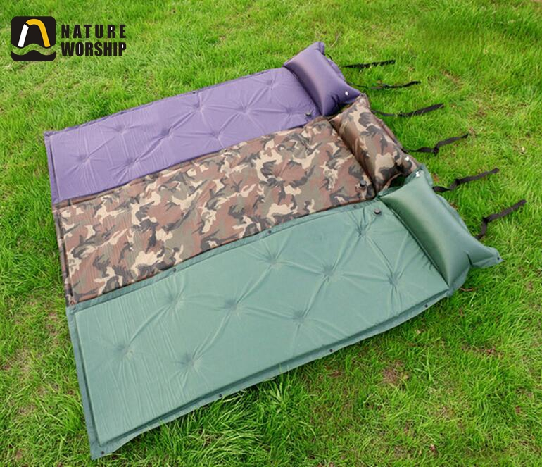 Outdoor Camping Inflatable Sleeping Mat Mattress Pad with Pillow, Wholesale Lightweight Sleeping Pad
