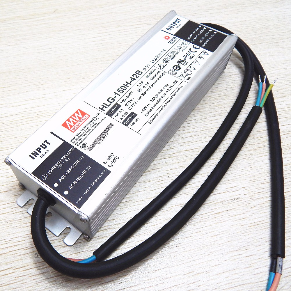 Original MEANWELL 40w to 600w HLG series waterproof dimmable 42vdc led driver 150W HLG-150HH-42B