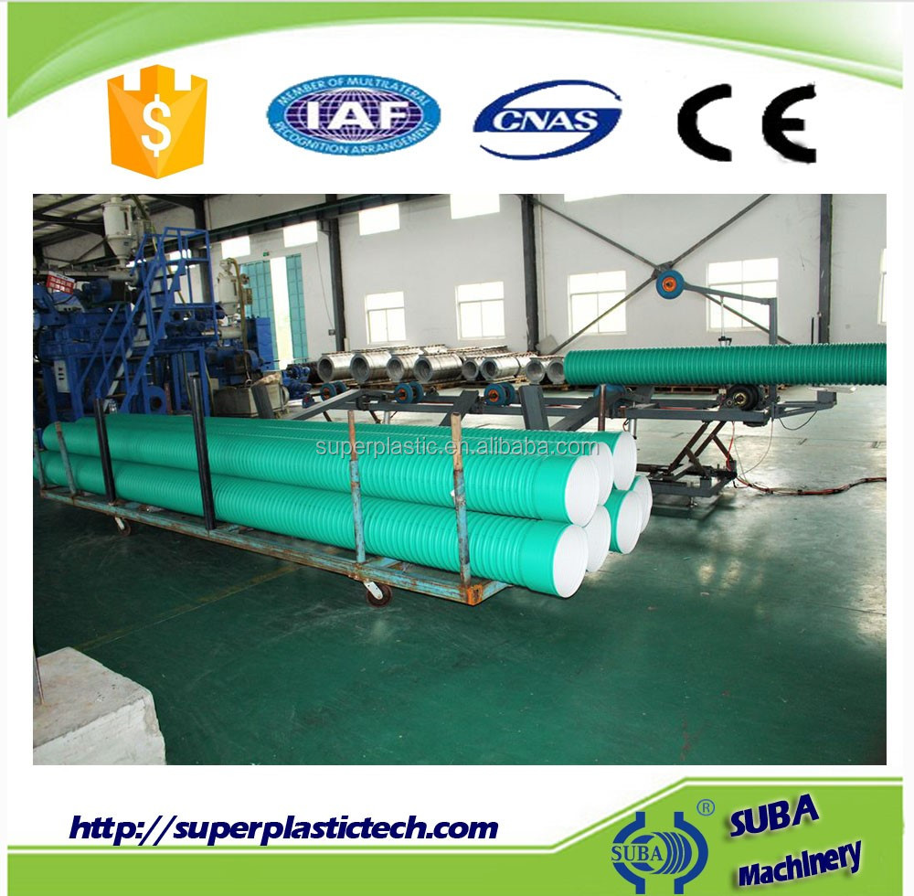 Double wall corrugated plastic pipe forming machine, pipe production line