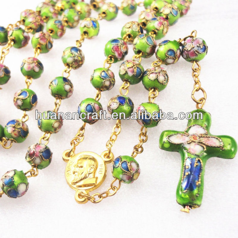 Organic 8mm christian cloisonne chain rosary with cross