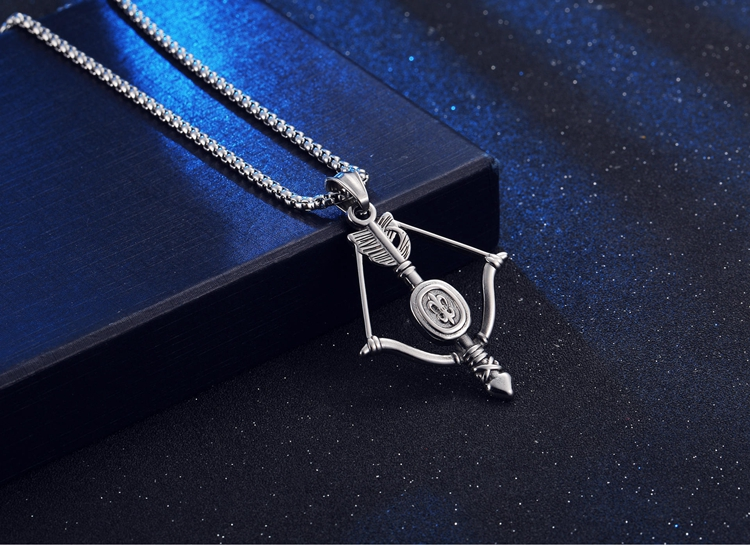 Vintage Stainless Steel Material Unisex Angel Bow Pendant Necklace Gifts
