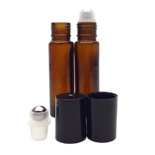 Hot sale amber 10ml glass essential oil roll on bottles with metal roller plastic caps