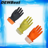 Flock lined rubber latex clean household gloves /Cotton lined latex gloves exporter