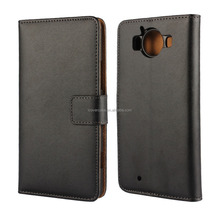 Factory Wholesale Side Flip Genuine Leather Wallet Case For Nokia Lumia 950