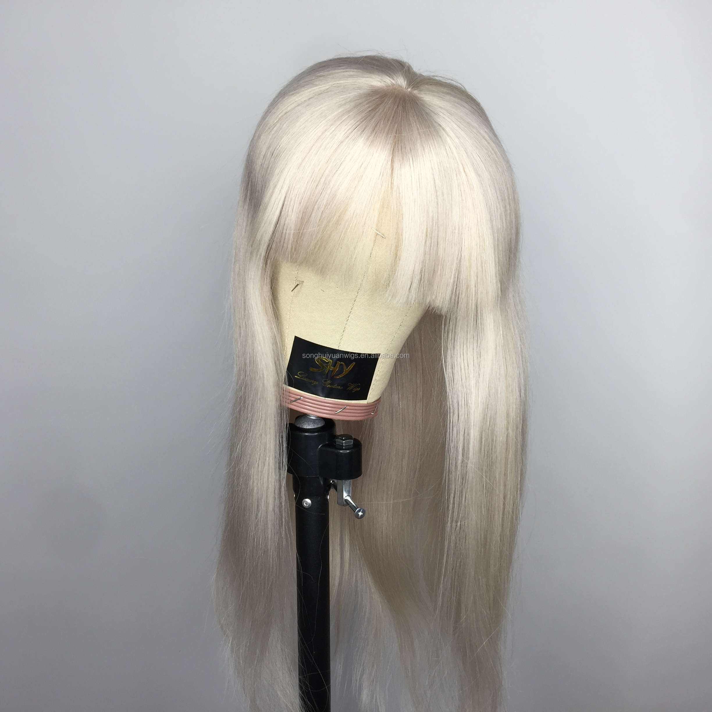 Pre Plucked Glueless Straight Blonde Human Hair Wigs With Bangs Silver Full Lace Wig For Women