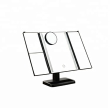 New product2019 Touch Screen Trifold Led Lights Mirror Desktop Cosmetic Mirror 1X/2X/3X +10X Magnifying Glass Makeup Mirror