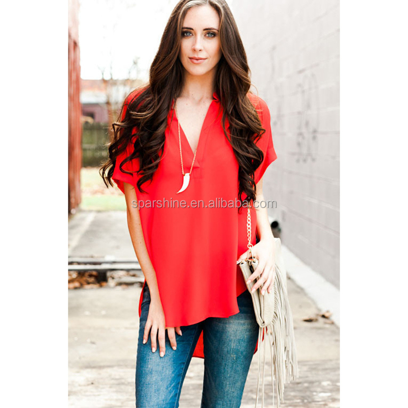 2017 New Fashion Sexy Charming Women'S Red V-Neck Blouse Comfortable Cotton Fancy Lace Blouse