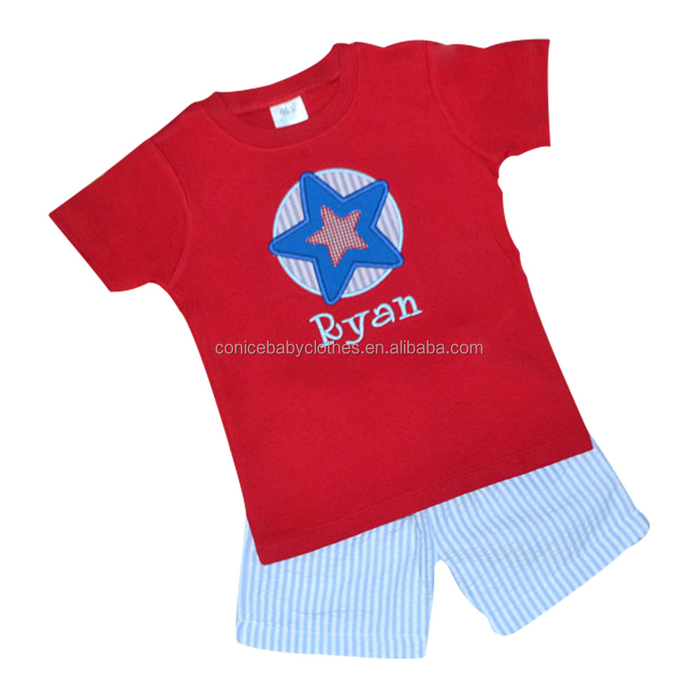 remake embroidery boy star boutique outfit T shirt sets red kids clothing