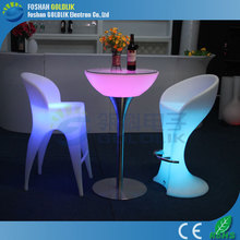 LED Lighting Bar Table / Illuminated Bar Furniture with Rechargeable Battery for Outdoor Use