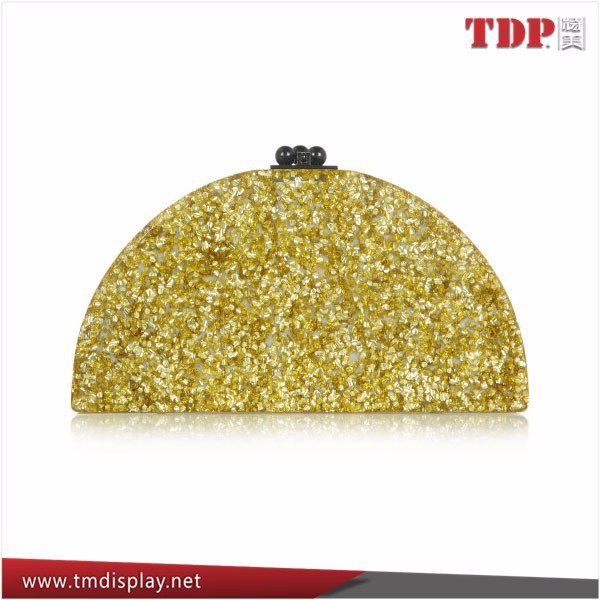 Women Fashion Gold Glitter Acrylic Box Clutch Bag with Makeup Mirror