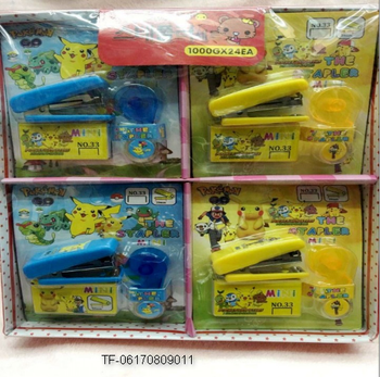 cartoon pokemon Manual Stapler Staples Set Mini Stationery Office Accessories School Supplies